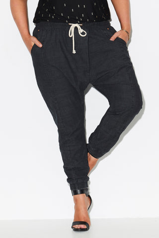 CROSS FRONT JOGGERS - BLACK