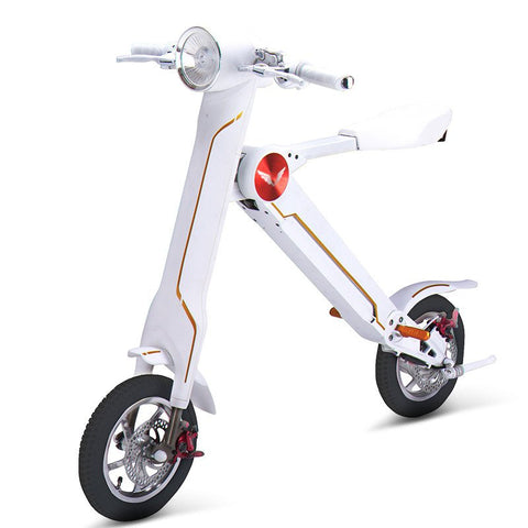 Sky Walker Sky Bike Adult Electric Scooter Foldable with Seat -White Color- Smart Skate n Cycle