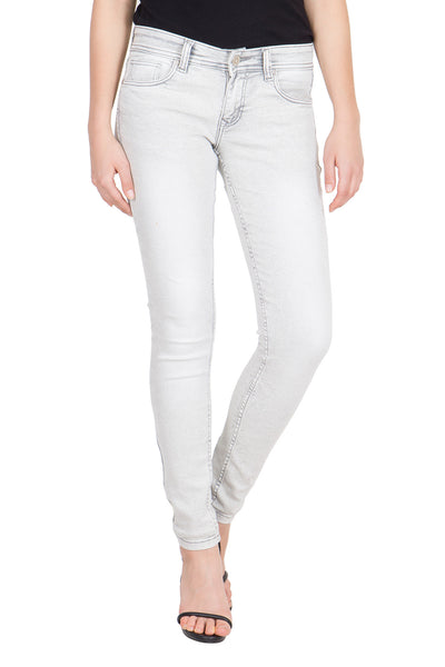 Kopyneko Women's Denim Stretchable Light Grey Jeans