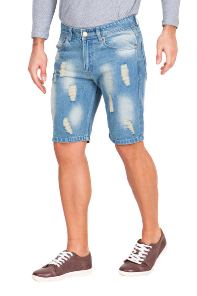 Krossstitch Men's Light Blue Denim Ripped Shorts