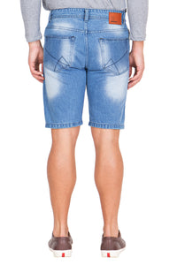 Krossstitch Men's Blue Denim Ripped Shorts