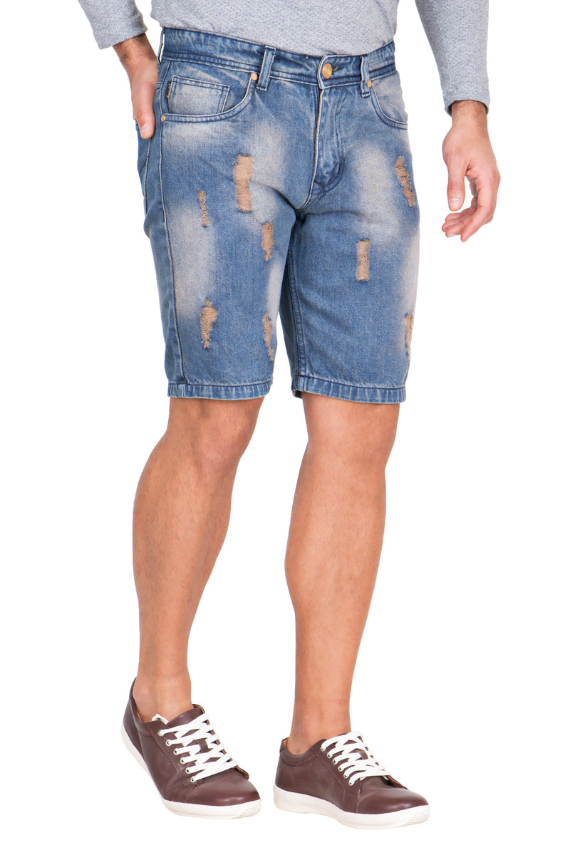 Krossstich Men's Deep Blue Denim Ripped Shorts