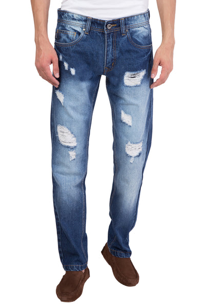 Men's Ripped Slim Fit Straight Denim Jeans Pants Vintage Style with Broken Holes