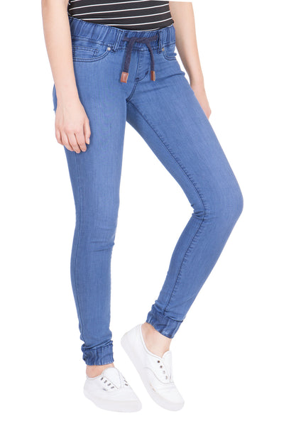 Kopyneko Women's Denim Blue Stretchable Joggers