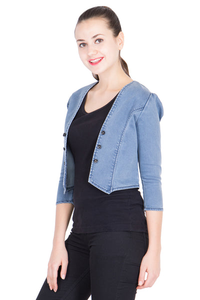 Kopyneko Women's Denim Light Blue Shrugs