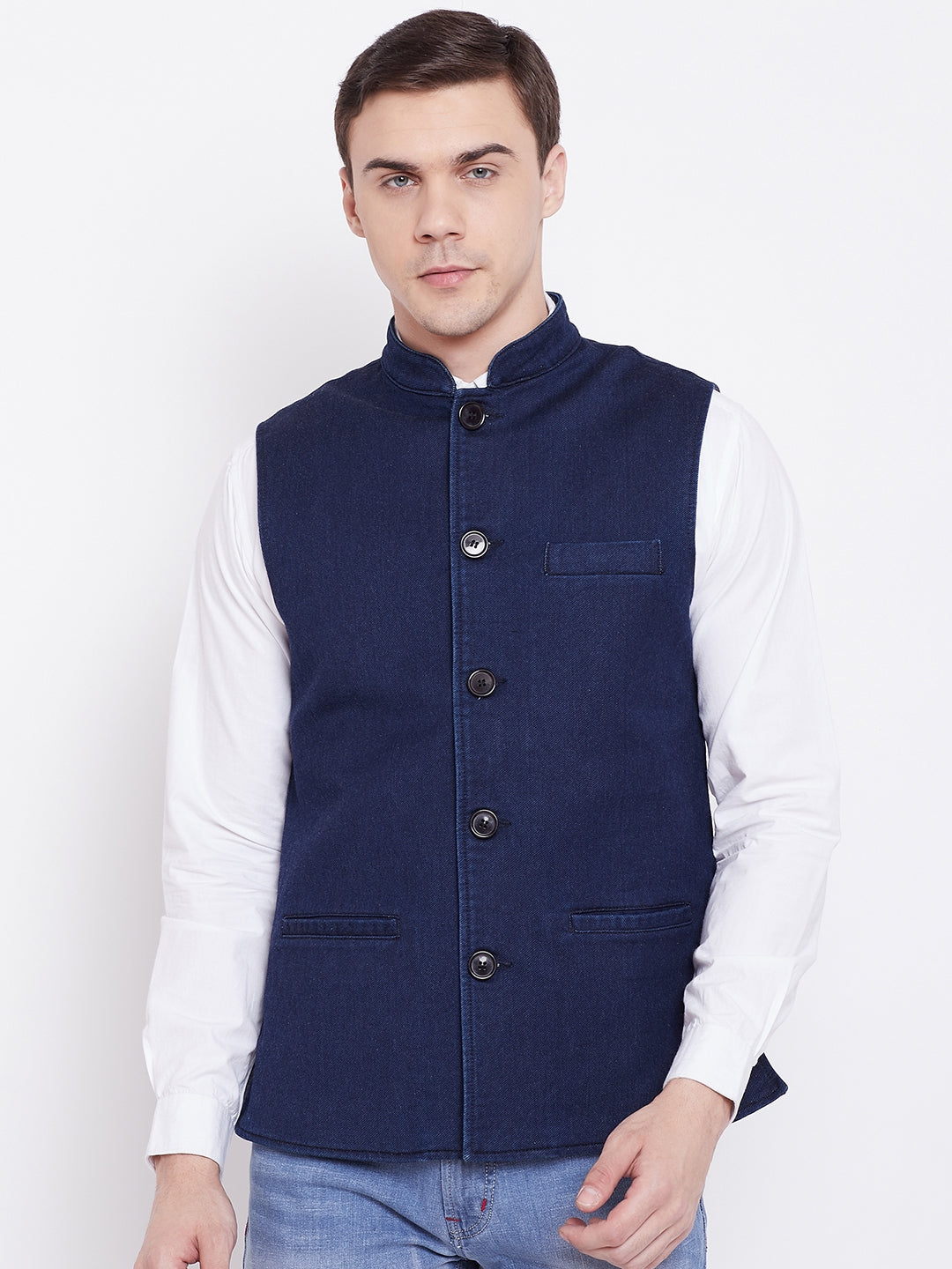 KROSSSTITCH Men Solid Dark Blue Jacket