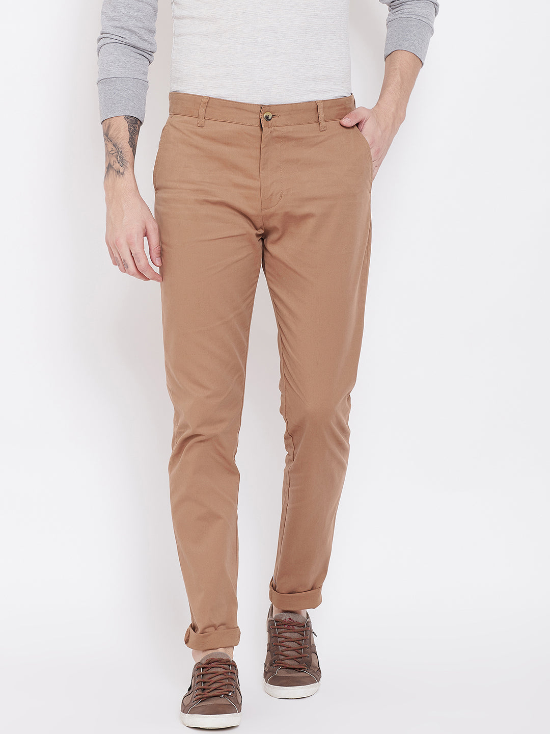 KROSSSTITCH Men's Cotton Brown Casual Slim Fit Stretchable Chinos