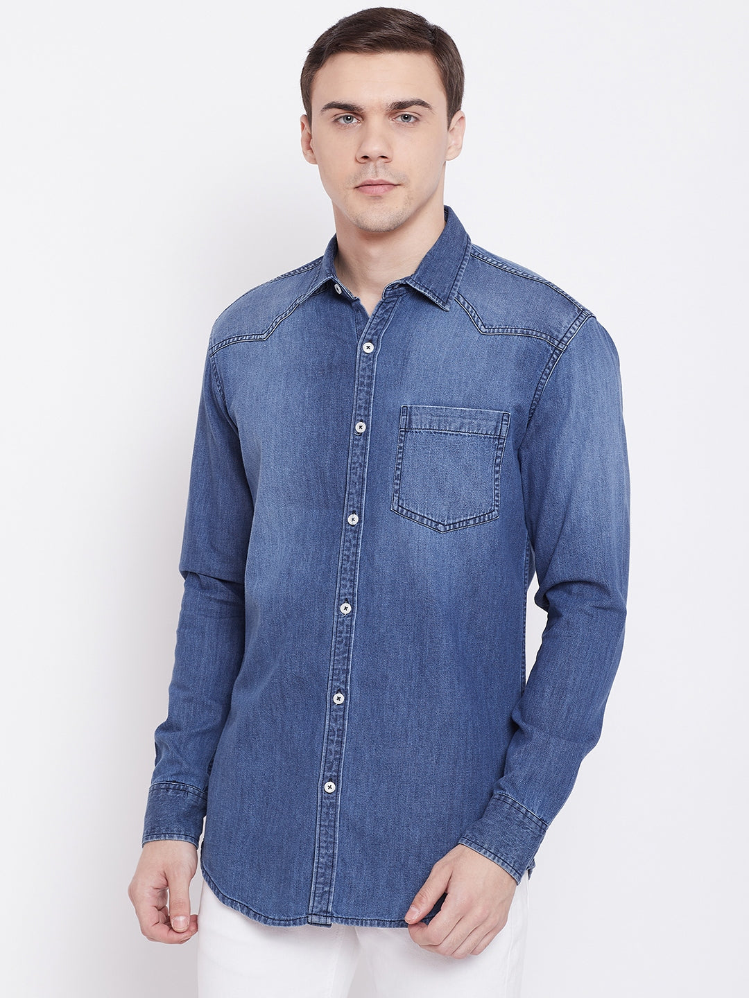 KROSSSTITCH Men Solid Blue Shirts