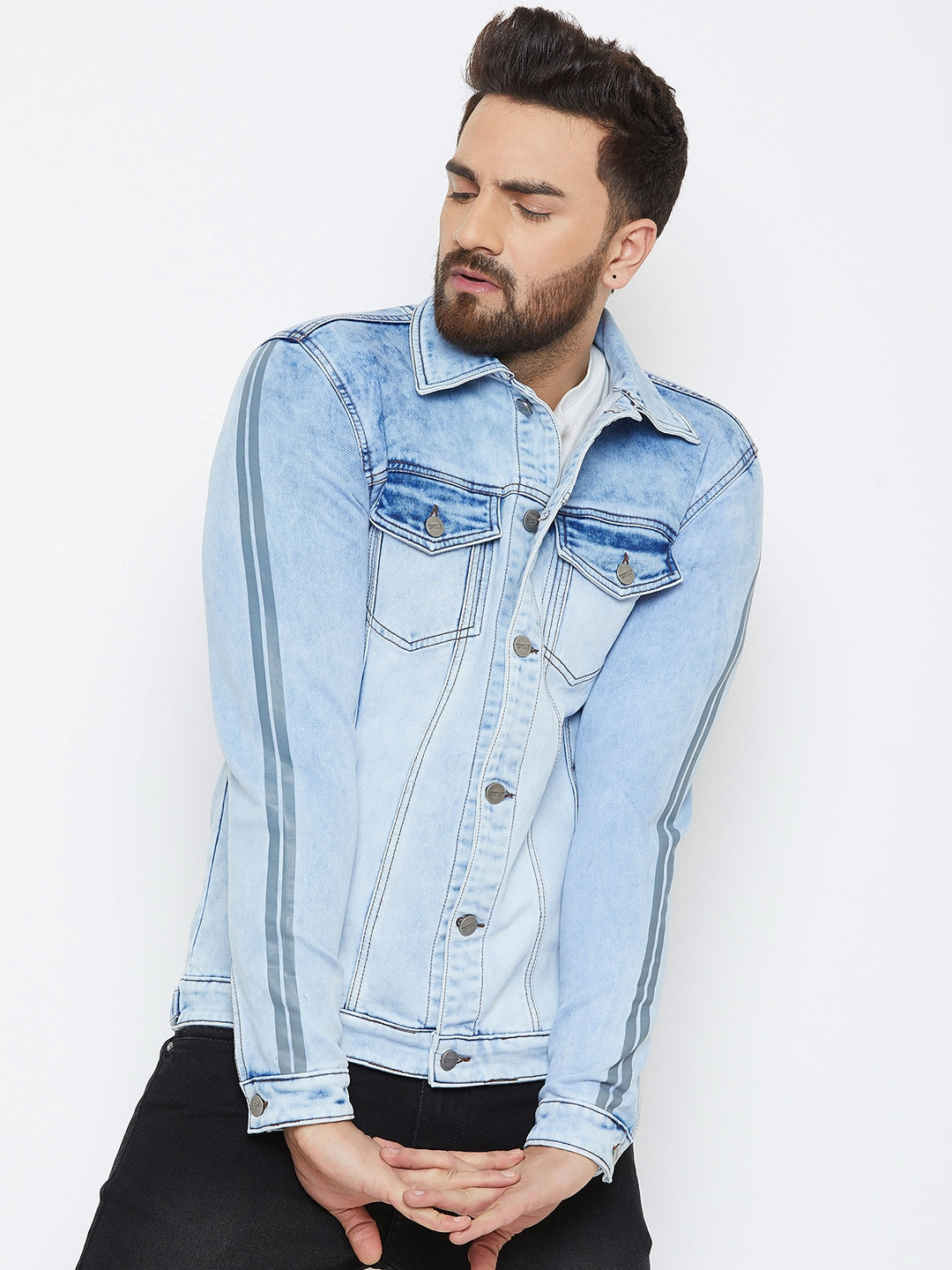 KROSSSTITCH Men's Full Sleeves Denim Jacket with Button Closure| with Stripe Trim Detail on Sleeves| Sky Blue