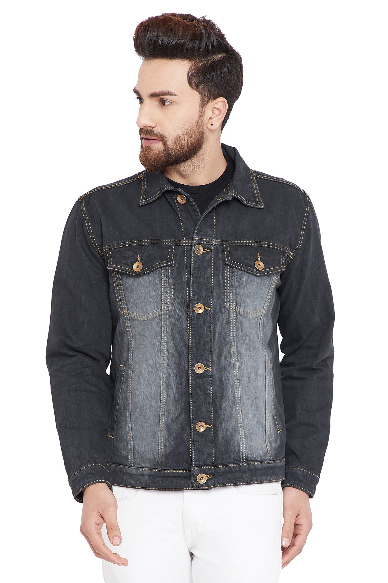 KROSSSTITCH Men's Full Sleeves Denim Jacket with Button Closure| With Stripe Trim Detail on Sleeves| Blue