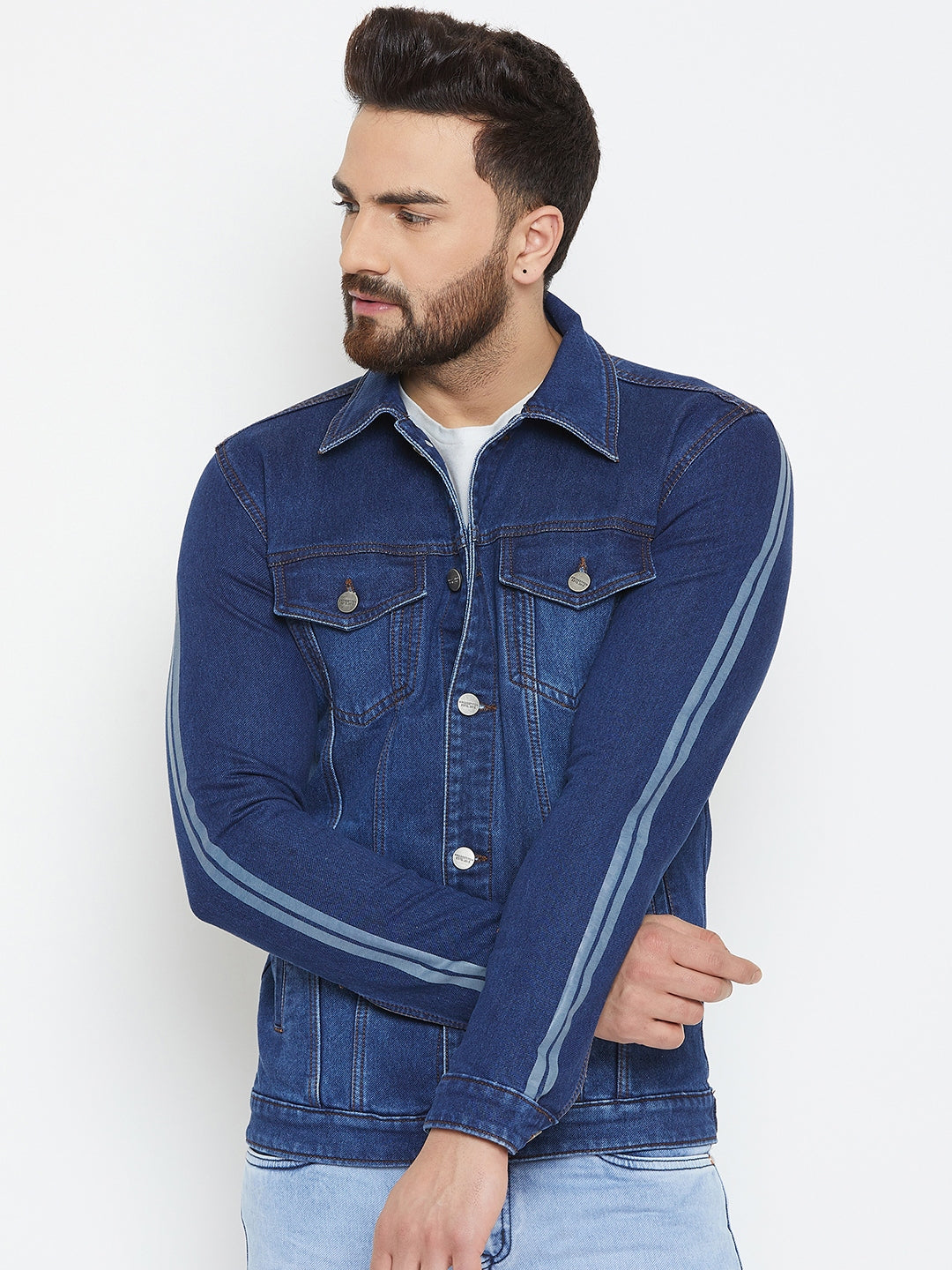 KROSSSTITCH Men's Full Sleeves Denim Jacket with Button Closure| with Stripe Trim Detail on Sleeves|Dark Blue