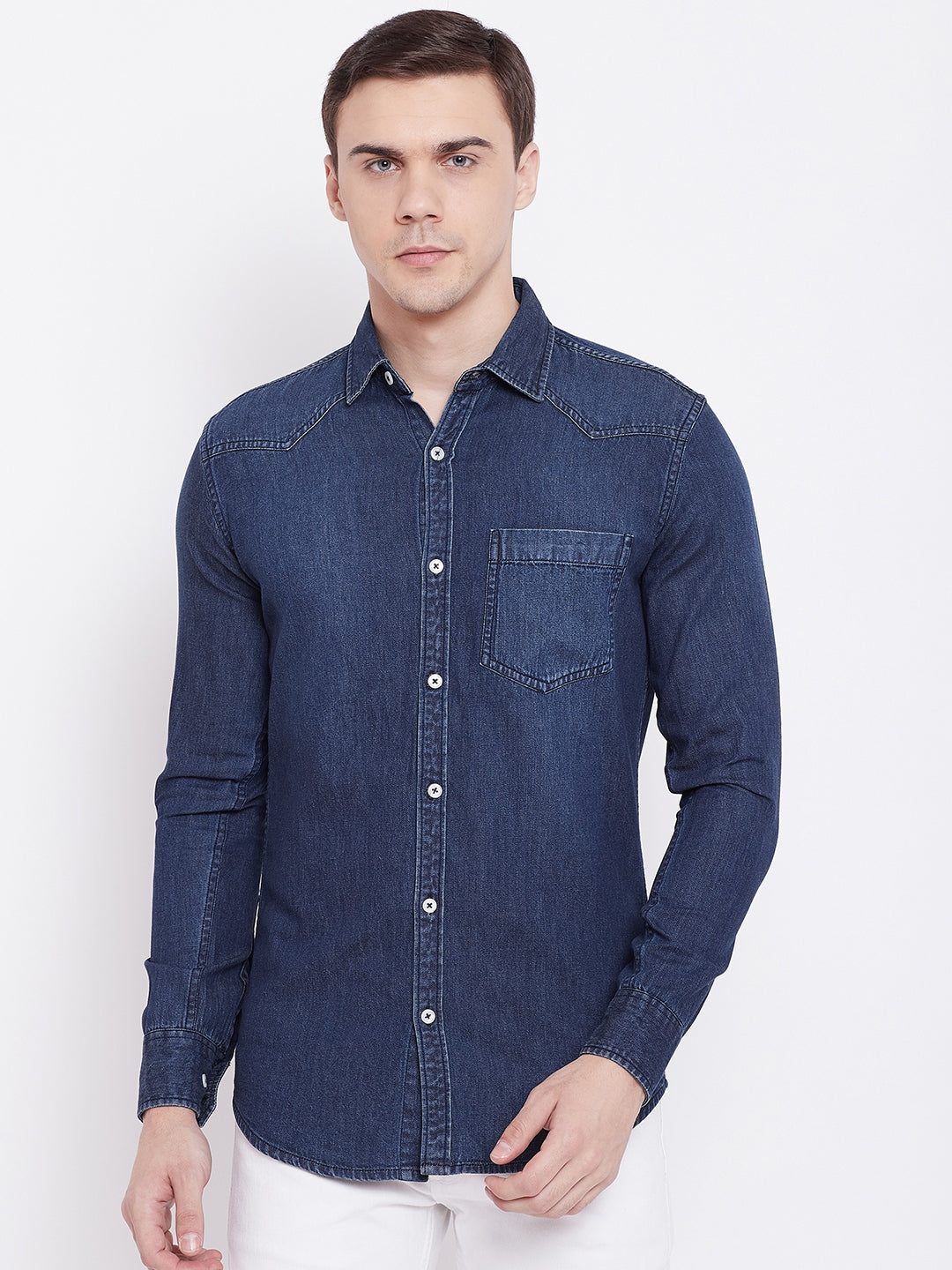 KROSSSTITCH Men Solid Dark Blue Shirts