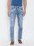 KROSSSTITCH Men Ripped Light Wash Denim Slim Fit Light Blue Jeans