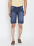 KROSSSTITCH Men Ripped Mid Wash Denim Slim Fit Dark Blue Shorts