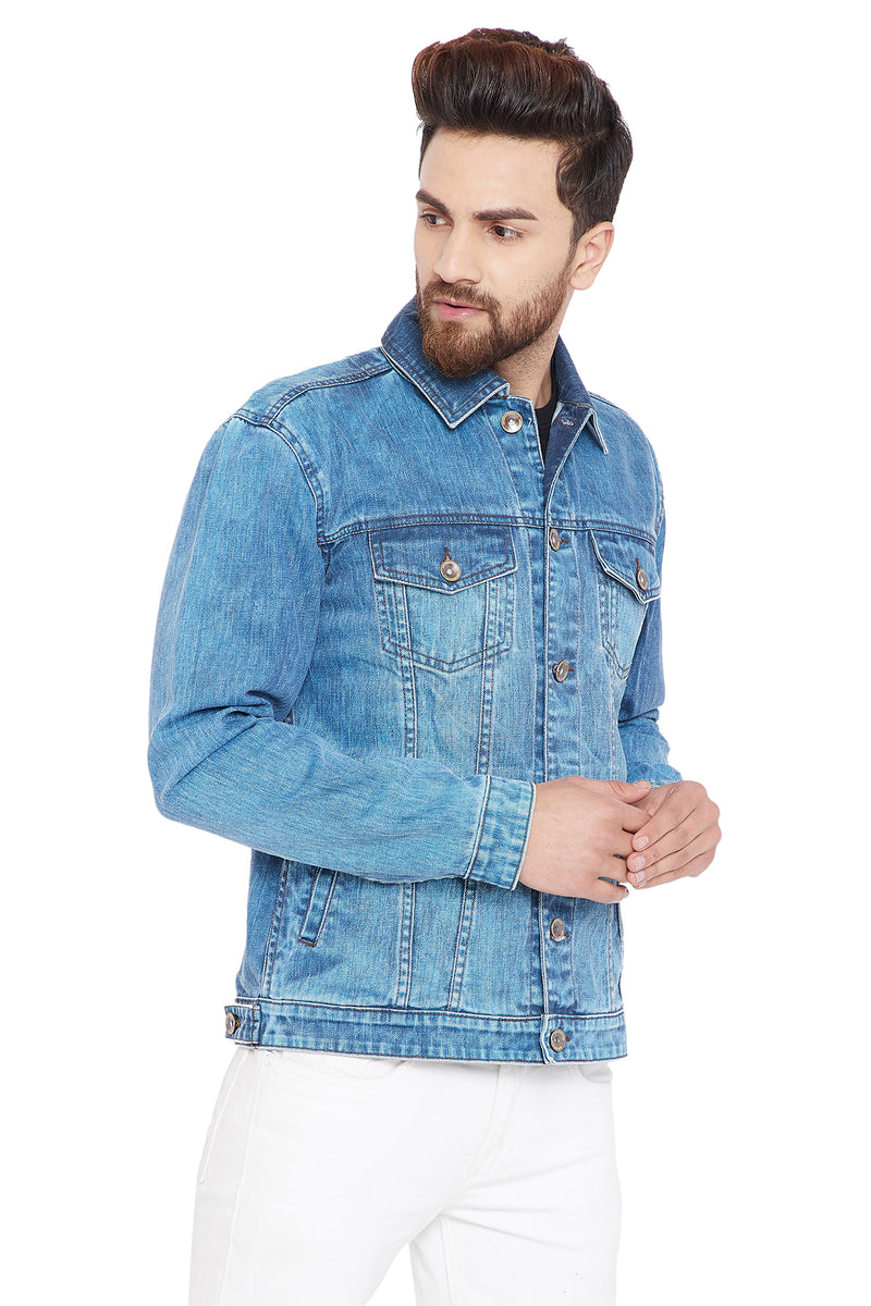 KROSSSTITCH Men's Full Sleeves Denim Jacket with Button Closure| Sky Blue