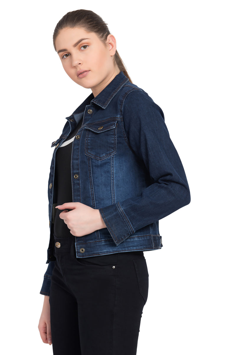 KROSSSTITCH Women Blue Full Sleeve Solid Denim Jacket With Button closer