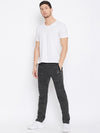 KROSSSTITCH Men Black Solid Slim Fit Track Pants