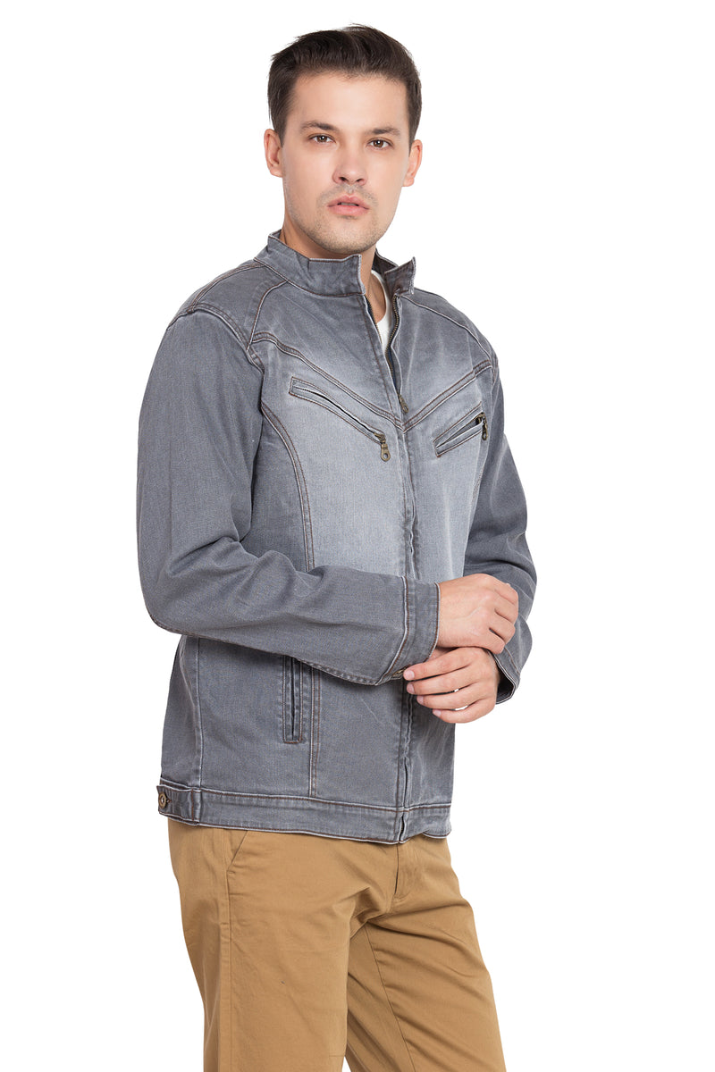 KROSSSTITCH Men Denim Solid Jacket With Zipper