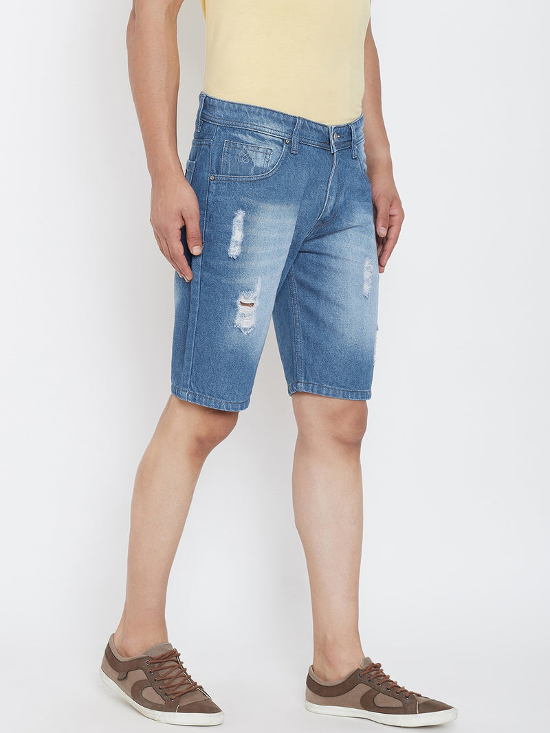 KROSSSTITCH Men Ripped Could Wash Denim Slim Fit Blue Shorts