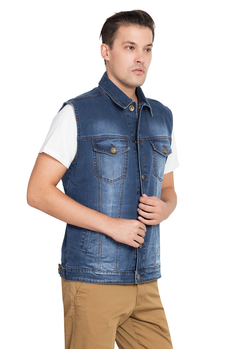 KROSSSTITCH Men Denim Solid Jacket With Button closer