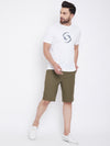 KROSSSTITCH Men Olive Green Solid Slim Fit Chino Shorts