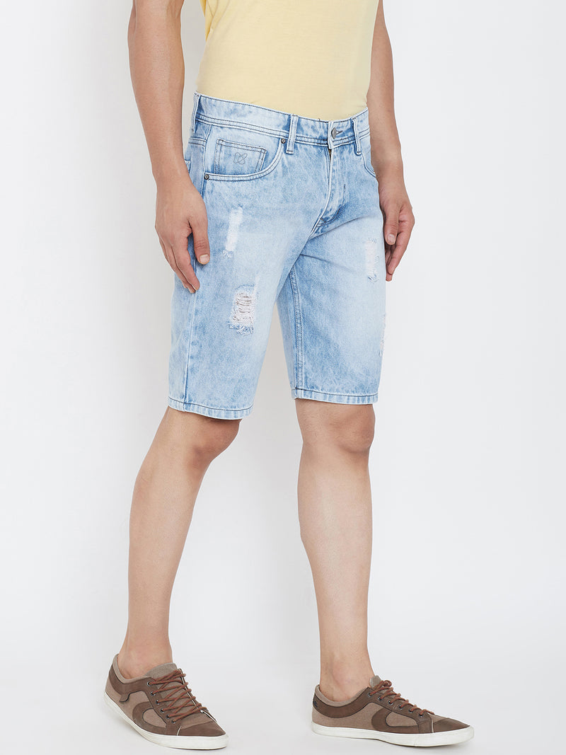 KROSSSTITCH Men Ripped Light Wash Denim Slim Fit Light Blue Shorts