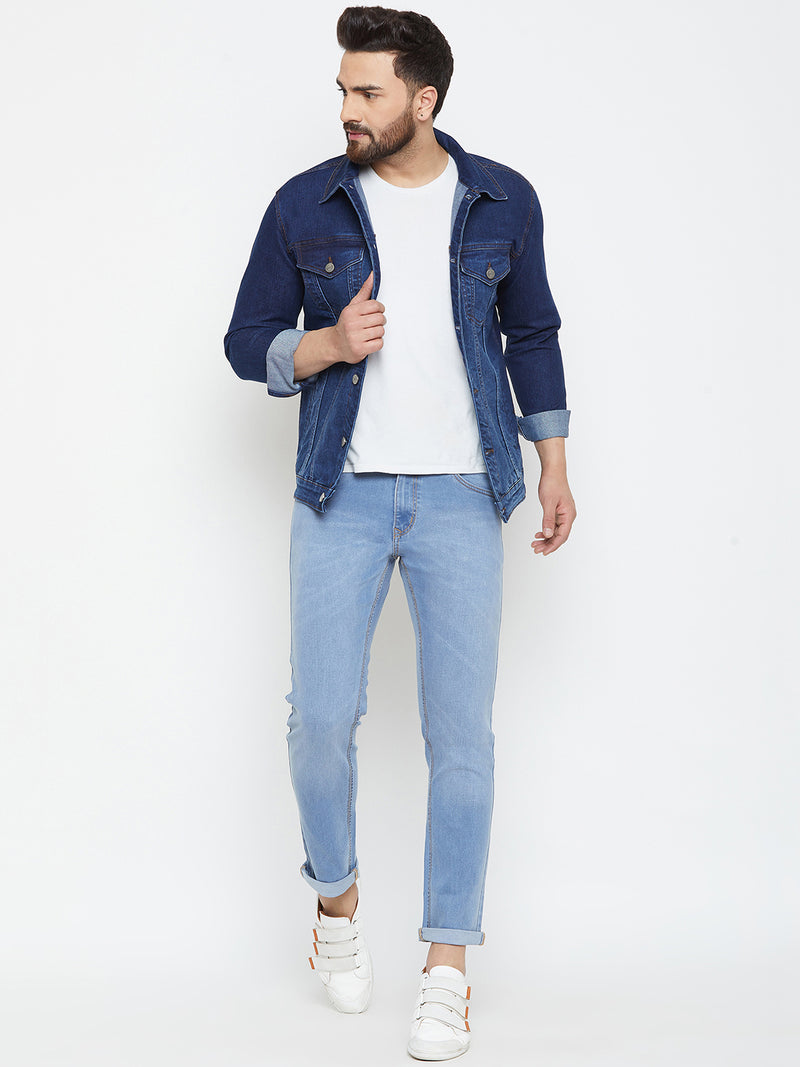 KROSSSTITCH Men Solid Blue Denim Jacket