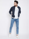 KROSSSTITCH Men Navy Blue Solid Varsity Jacket
