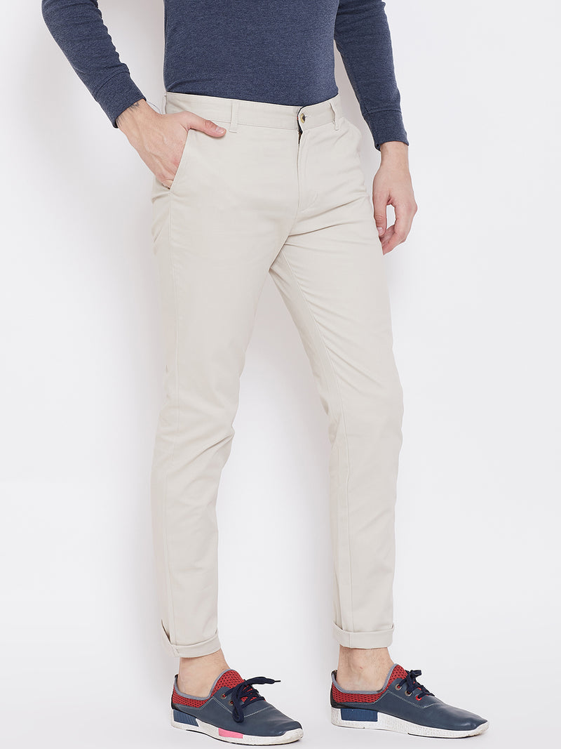 KROSSSTITCH Men's Cotton Cream Casual Slim Fit Stretchable Chinos