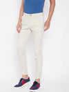 KROSSSTITCH Men's Cream Casual Slim Fit Chinos