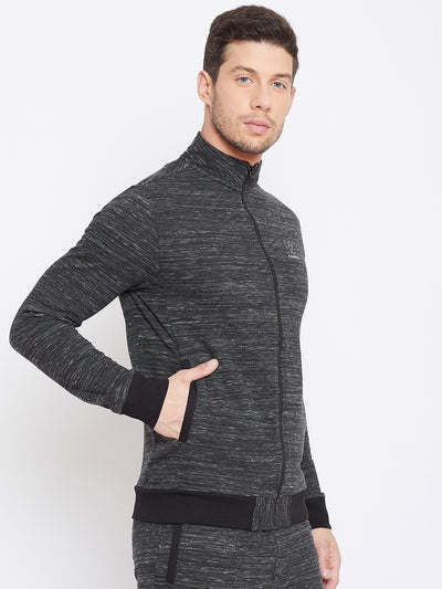 KROSSSTITCH Men Black Solid Active Wear Sweatshirt