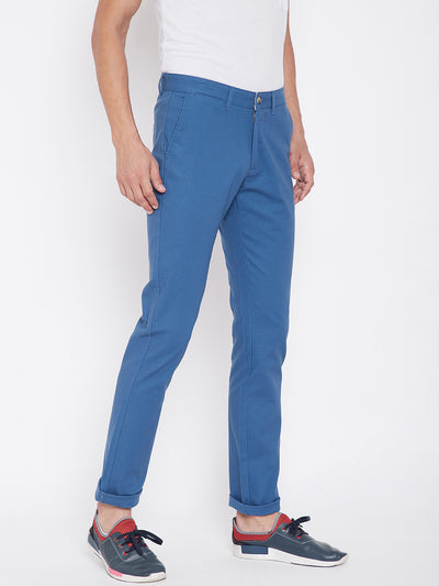 KROSSSTITCH Men's Blue Casual Slim Fit Chinos