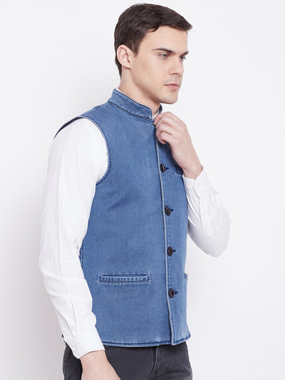 KROSSSTITCH Men Solid Sky Blue Jacket