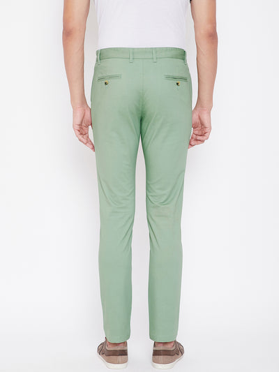 KROSSSTITCH Men's Green Casual Slim Fit Chinos