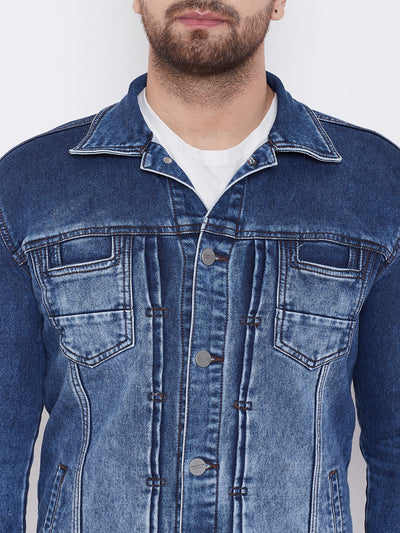 KROSSSTITCH Men Blue Solid Denim Jacket