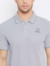 KROSSSTITCH Men Grey Polo Collar Tshirts
