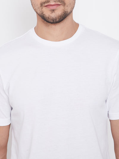 KROSSSTITCH Men White Round Neck T-Shirts