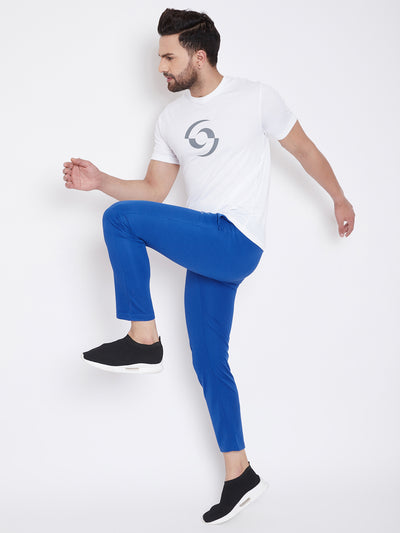 KROSSSTITCH Men Blue Solid Slim Fit Track Pants