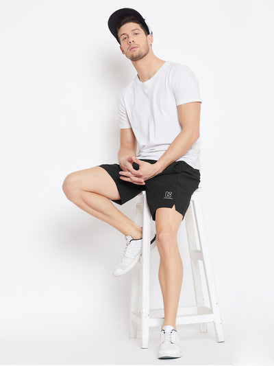 KROSSSTITCH Men Black Solid Active Wear Shorts