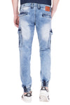 KROSSSTITCH Men's Faded Cloud Wash Blue Original Cargo Denim Jeans