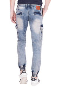 KROSSSTITCH Men's Faded Blue Original Cargo Denim Jeans