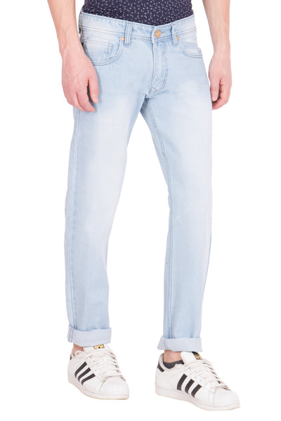 KROSSSTITCH Men's Straight Fit Light Blue Original Denim Jeans