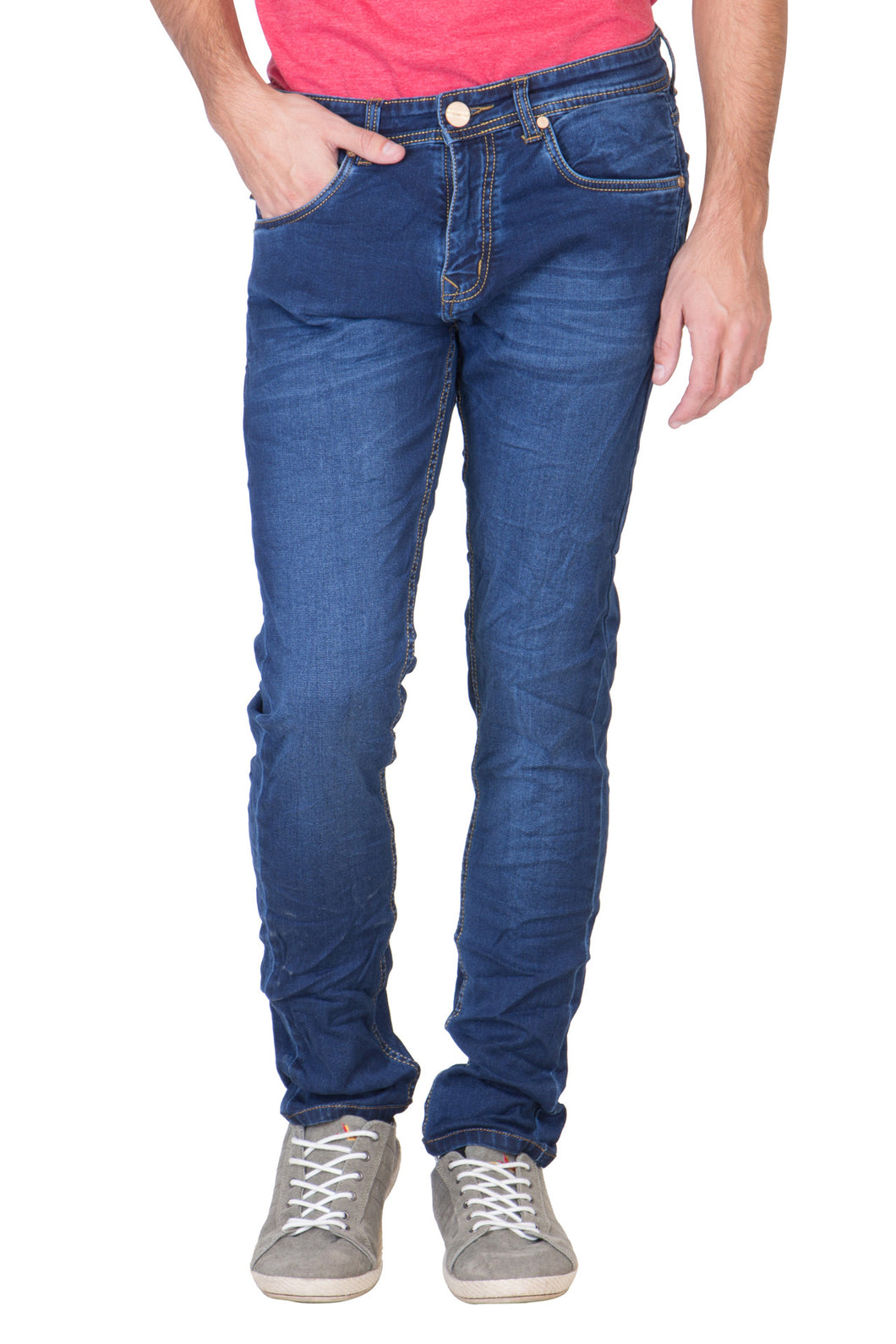 KROSSSTITCH Men's Straight Fit Denim Blue Jeans