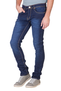 KROSSSTITCH Men's Straight Fit Denim Dark Blue Jeans