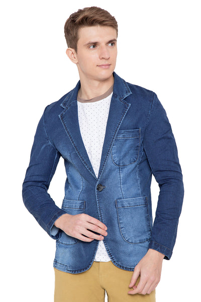 Krossstitch Full Sleeve Men's Denim Blazer with Brass Button