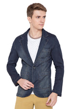 Load image into Gallery viewer, Krossstitch Full Sleeve Men's Denim Blazer with Brass Button
