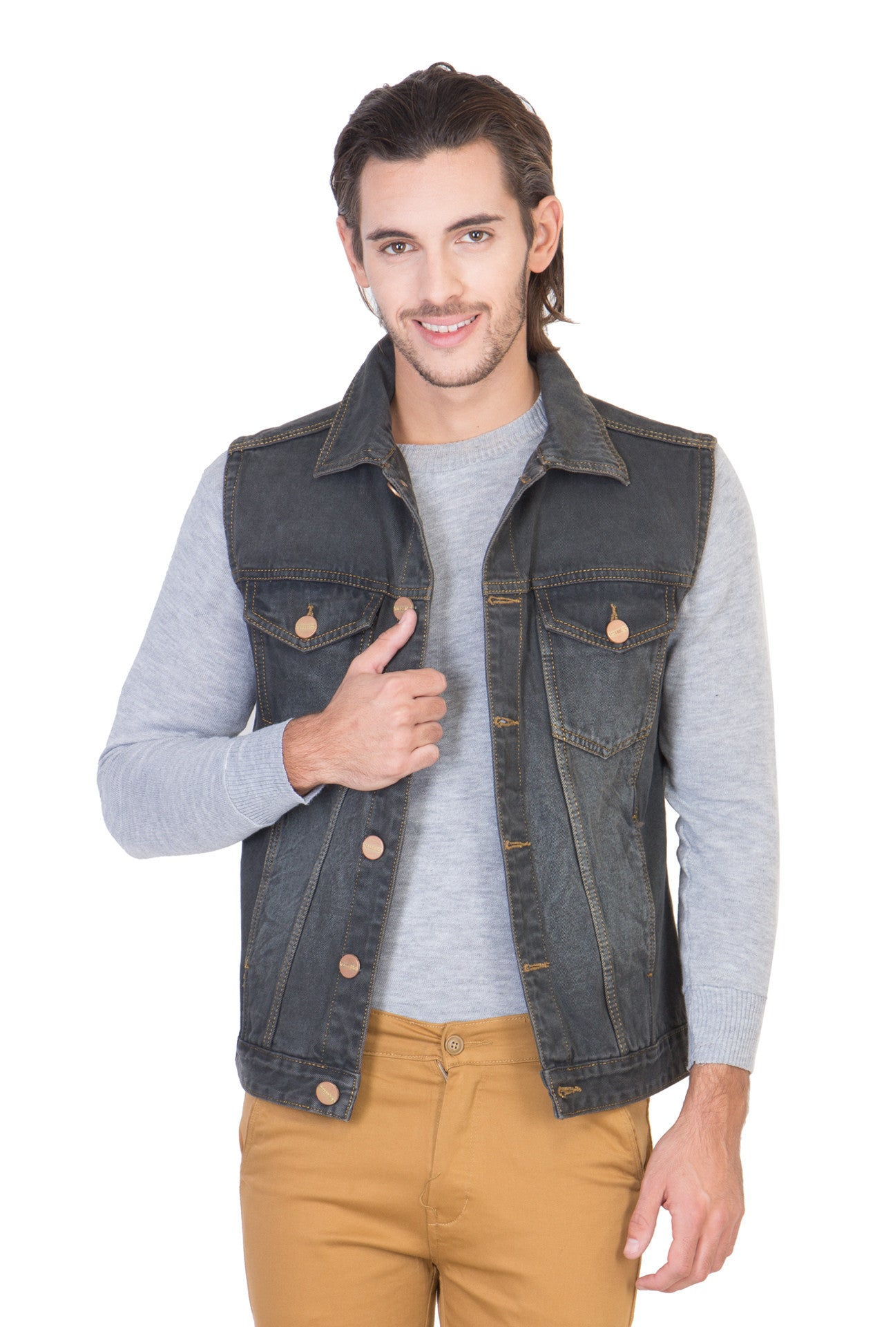 Sleeveless Tinted Black Men's Denim Jacket with Brass Button
