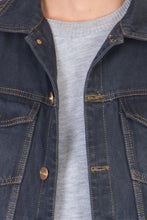 Load image into Gallery viewer, Sleeveless Blue Men's Denim Jacket with Brass Button