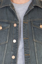 Load image into Gallery viewer, Sleeveless  Grey Men's Denim Jacket with Brass Button