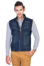 Load image into Gallery viewer, Sleeveless Dark Blue Men's Denim Jacket with Zipper